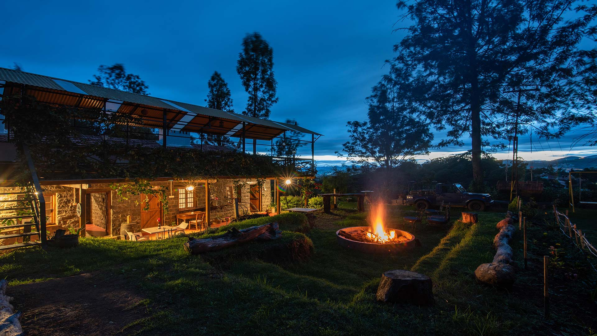Bonfire in outdoor space of holiday villa