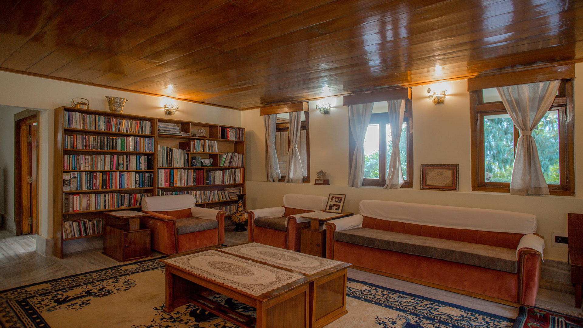 Furnished living room with library in cozy villa